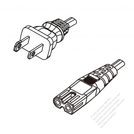 US/Canada 2-Pin NEMA 1-15P Polarized Plug To IEC 320 C7 Polarized AC Power Cord Set Molding (PVC) 1.8M (1800mm) Black (NISPT-2 18/2C/60C )