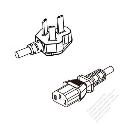China 3-Pin Plug To IEC 320 C13 AC Power Cord Set Molding (PVC) 1.8M (1800mm) Black (60227 IEC 53 3*0.75mm² )