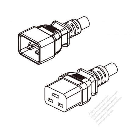 US/Canada 3-Pin IEC 320 Sheet I Plug To IEC 320 C19 AC Power Cord Set Molding (PVC) 1.8M (1800mm) Black (SJT 14/3C/60C )
