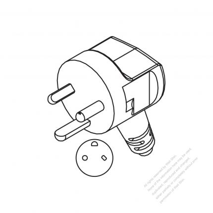 Denmark 3 Pin Elbow Ac Plug 1016a 250v