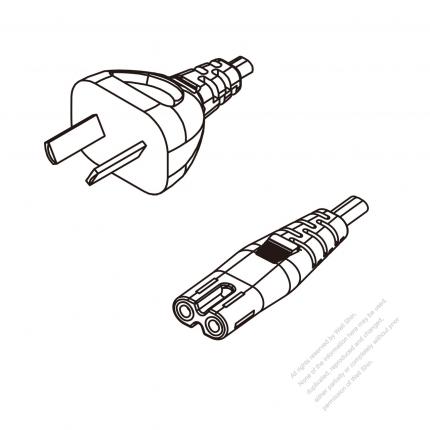 Argentina 2-Pin Plug To IEC 320 C7 AC Power Cord Set Molding (PVC) 1.8M (1800mm) Black ( H03VVH2-F 2X 0.75mm² )