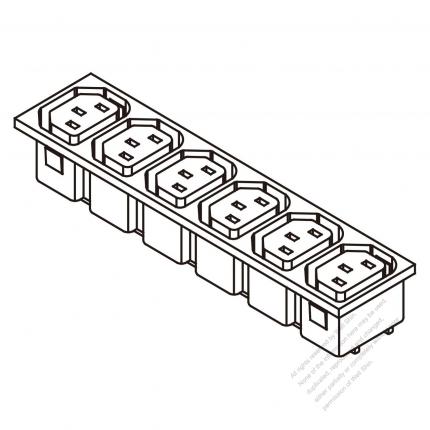 AC Socket IEC 60320-2 Sheet F Appliance Outlet  X 6, 10A/15A