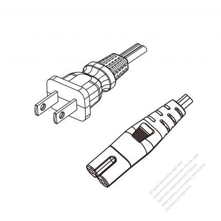 US/Canada 2-Pin NEMA 1-15P Plug to IEC 320 C7 Power cord set (HF - Halogen free) 1.8M (1800mm) Black (NISPE-2 18/2C )
