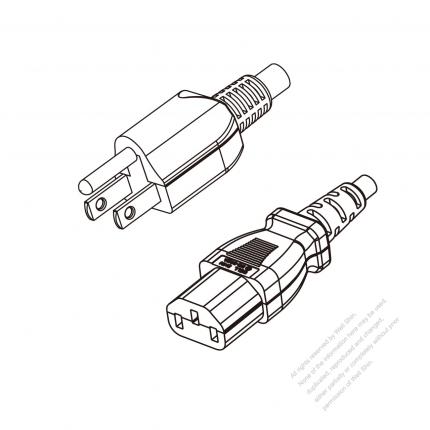 US/Canada 3-Pin NEMA 5-15P Plug to IEC 320 C13 Power cord set (HF - Halogen free) 1.8M (1800mm) Black (SVE 18/3C/60C )