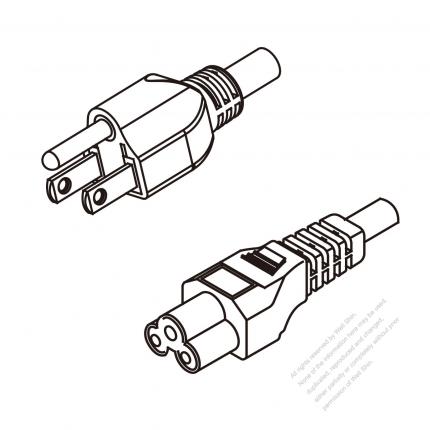 US/Canada 3-Pin NEMA 5-15P Plug To IEC 320 C5 AC Power Cord Set Molding (PVC) 1 M (1000mm) Black (SPT2 18/3C/60C )