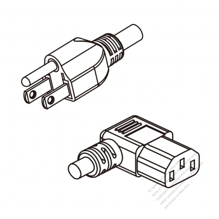 US/Canada 3-Pin NEMA 5-15P Plug To IEC 320 C13 Right Angle AC Power Cord Set Molding (PVC) 1.8M (1800mm) Black (SVT 18/3C/60C )