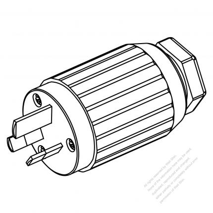 Australian Plug 3 Pin Straight 15a 250v