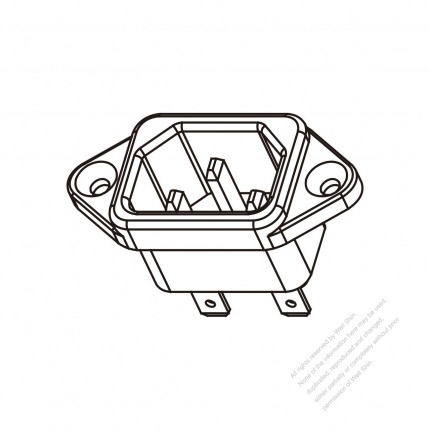 AC Socket IEC 60320-1 (C14) Appliance Inlet  (rivet), Screw Type, 10A/15A 250V
