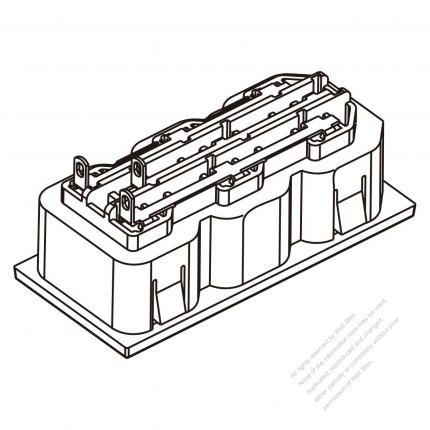 AC Socket IEC 60320-2 Sheet F Appliance Outlet  X 3, (series terminal type) 10A/15A