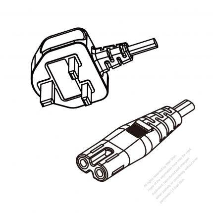 UK 3-Pin Plug To IEC 320 C7 AC Power Cord Set Molding (PVC) 1.8M (1800mm) Black ( H03VVH2-F 2X 0.75mm² )