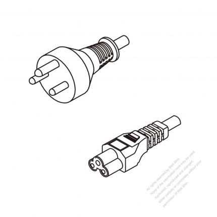 Denmark 3-Pin Plug To IEC 320 C5 AC Power Cord Set Molding (PVC) 1.8M (1800mm) Black ( H05VV-F 3G 0.75mm² )