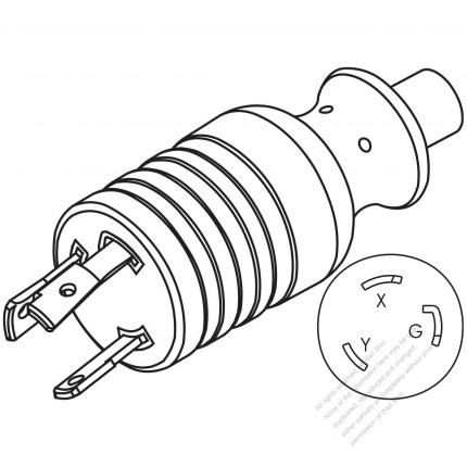 Usacanada Nema L6 30p Twist Locking Ac Plug 2 P 3 Wire Grounding