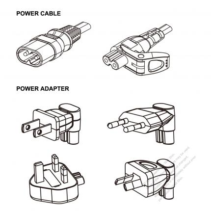 Notebook/DV Adapter Power Cord Set, China/Europe/UK/Australia + C7 figure 8 Adapter, Power Cord Set figure 8 (Sheet C) plug + C7 figure 8 Connector , 1M, 2-Pin 2.5A/250V