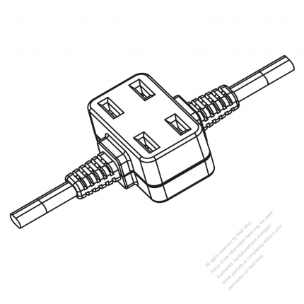 USA/Canada Multi-outlet AC Connector (NEMA 1-15R) Straight Blade 2 outlet, 2 P, 2 Wire Non-Grounding15A 125V
