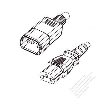 US/Canada 3-Pin IEC 320 Sheet E Plug to IEC 320 C13 Power Cord Set (PVC) 1.8M (1800mm) Black  (SVT 18/3C/105C  )