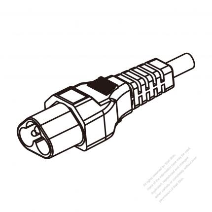 US/Canada 3 Pin IEC Sheet A Plug/ Cable End Cut AC Power Cord - Molding PVC 1.8M (1800mm) Black  (SVT 18/3C/60C  )