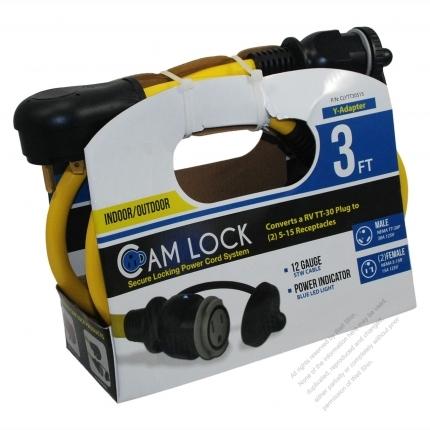 USA 3Pin Locking Y Adapter Cord 1 to 2, L5-30P Plug to NEMA 5-15R Receptacle x 2, Yellow 3 FT (0.9M)