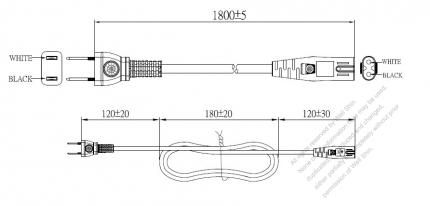 Japan 2-Pin Semi-Insulation Plug To IEC 320 C7 AC Power Cord Set Molding (PVC) 1.8M (1800mm) Black (VCTFK 2X 0.75mm² Flat )
