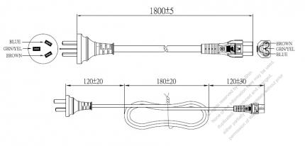 China 3-Pin Plug To IEC 320 C5 AC Power Cord Set Molding (PVC) 1.8M (1800mm) Black (60227 IEC 53 3*0.75mm² )