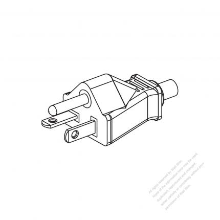 USA/Canada NEMA 5-20P Straight AC Plug, 2 P/ 3 Wire Grounding 20A ...