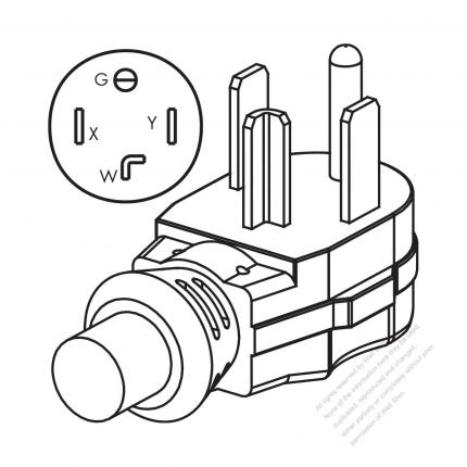 Usacanada Nema 14 30p 30amp 3 P 4 Wire Grounding Elbow Ac Plug