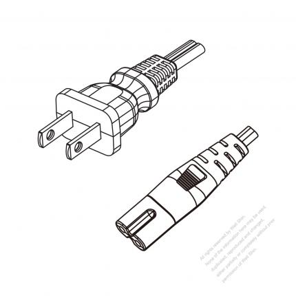 US/Canada 2-Pin NEMA 1-15P Plug to IEC 320 C7 Power Cord Set (PVC) 1.8M (1800mm) Black  (SPT-2    18/2C/105C )
