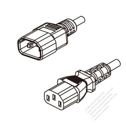 US/Canada 3-Pin IEC 320 Sheet E Plug To IEC 320 C13 AC Power Cord Set Molding (PVC) 1.8M (1800mm) Black (SVT 18/3C/60C )