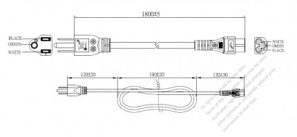 Taiwan 3-Pin Plug To IEC 320 C5 AC Power Cord Set Molding (PVC) 1.8M (1800mm) Black (VCTF 3X0.75mm² Round )