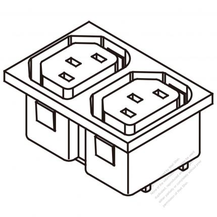 AC Socket IEC 60320-2 Sheet F Appliance Outlet  X 2, 10A/15A