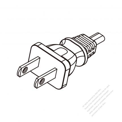 US/Canada 2-Pin Plug Cable End WS-SR-536 + STRIP 10CM AC Power Cord - Molding PVC 1.8M (1800mm) Black  (NISPT-2 18/2C/60C )