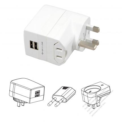 5V / 2.4A US/Europe/UK /Australia+ USB X 2Adapter set portable universal USB charger