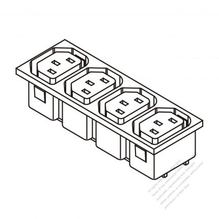 AC Socket IEC 60320-2 Sheet F Appliance Outlet  X 4, 10A/15A