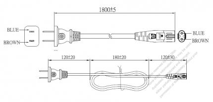 China 2-Pin Plug To IEC 320 C7 AC Power Cord Set Molding (PVC) 1.8M (1800mm) Black (60227 IEC 52 2X 0.75mm² )