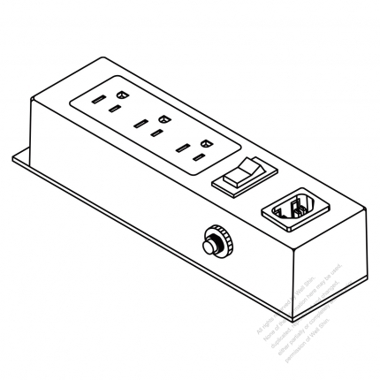 Iec 320 Power Strip C14 Inlet X 1 Nema 5 15r Outlet X 3 3 Pin 15a