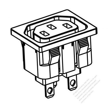 AC Socket IEC 60320-2 Sheet F Appliance Outlet 10A/15A