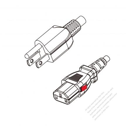 US/Canada  3-Pin NEMA 5-15P Plug to IEC 320  C13 Lock Type  Power Cord Set (PVC) 1.8M (1800mm) Black  (SJT 18/3C/105C  )