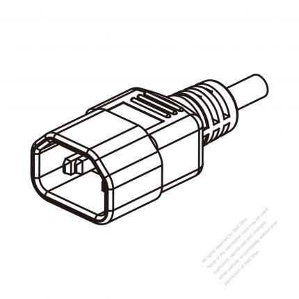 US/Canada 3 Pin IEC Sheet E Plug/ Cable End Cut AC Power Cord - Molding PVC 1.8M (1800mm) Black  (SVT 18/3C/60C  )