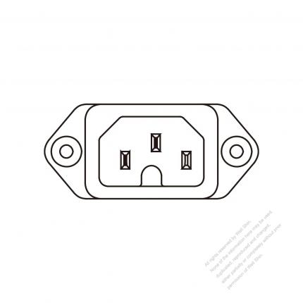 AC Socket IEC 60320-1 (C16) Appliance Inlet, Screw Type, 10A/ 15A