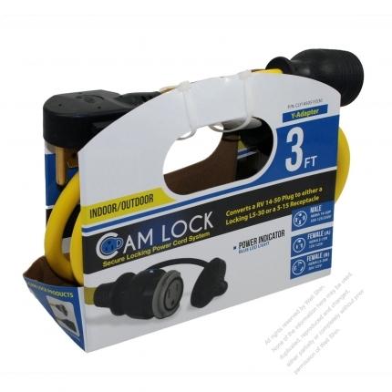 USA 4Pin Locking Y Adapter Cord 1 to 2, RV 14-50P Plug to 5-15R + Locking L5-30R, Yellow 3 FT (0.9M)