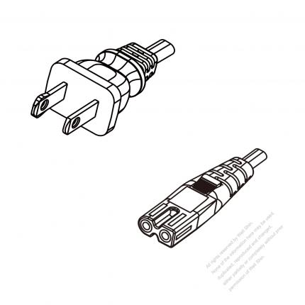 US/Canada 2-Pin NEMA 1-15P Polarized Plug To IEC 320 C7 Polarized AC Power Cord Set Molding (PVC) 1.8M (1800mm) Black (SPT-2 18/2C/60C )