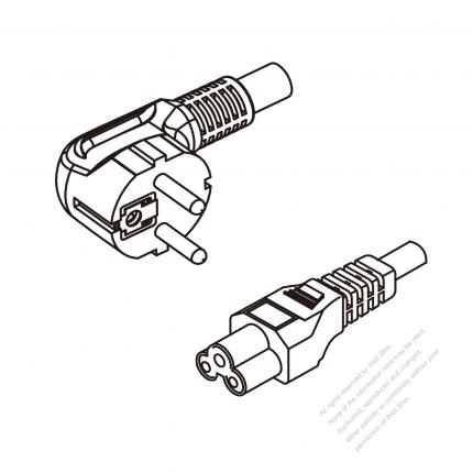 Europe 3-Pin Angle Plug To IEC 320 C5 AC Power Cord Set Molding (PVC) 1.8M (1800mm) Black ( H05VV-F 3G 0.75mm² )