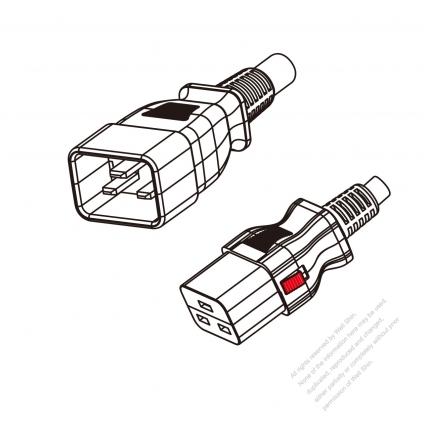 US/Canada 3-Pin IEC 320 Sheet I Plug to IEC 320 C19 Power Cord Set (PVC) 1.8M (1800mm) Black  (SJT 16/3C/105C  )