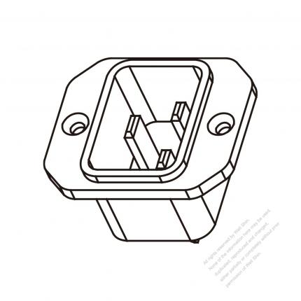 AC Socket IEC 60320-1 (C20) Appliance Inlet, Screw Type, 16A/20A 250V