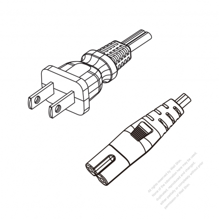 US/Canada 2-Pin NEMA 1-15P Plug to IEC 320 C7 Power Cord Set (PVC) 1.8M (1800mm) Black  (NISPT-2 18/2C/105C )