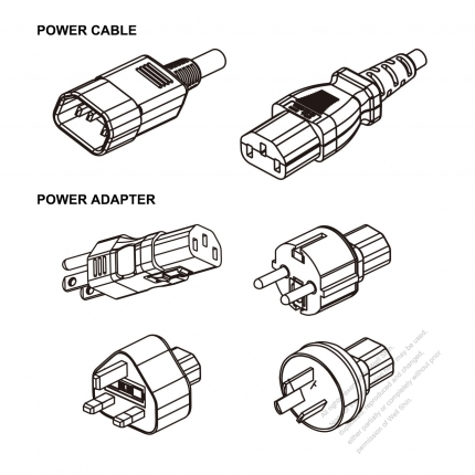 PC Adapter Power Cord Set, US/Europe/UK /Australia + C13 adapter, Power Cord Set Sheet E plug + C13 connector, 1M , 3-Pin 10A/13A 125V