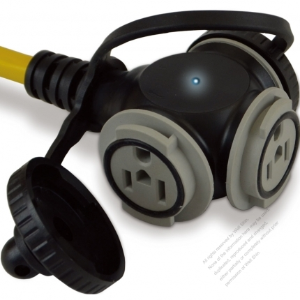 USA 1 To 3 Outlets Locking Cord 3Pin NEMA 5-15P Plug to 5-15R Receptacle x 3 Yellow 1 FT (0.3M)