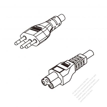 Brazil 3-Pin Plug To IEC 320 C5 AC Power Cord Set Molding (PVC) 1.8M (1800mm) Black ( H05VV-F 3G 0.75mm² )