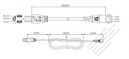Taiwan 3-Pin Plug To IEC 320 C13 AC Power Cord Set Molding (PVC) 1.8M (1800mm) Black (VCTF 3X0.75mm² Round )