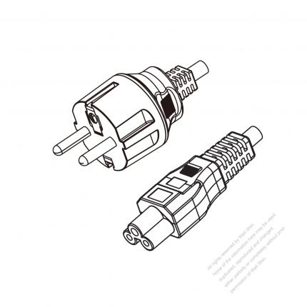 Europe 3 Pin Plug To Iec 320 C5 Power Cord Set Hf