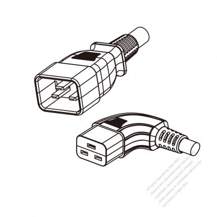 US/Canada 3-Pin IEC 320 Sheet I Plug to IEC 320 C19 Left Angle Power Cord Set (PVC) 1.8M (1800mm) Black  (SJT 16/3C/105C  )